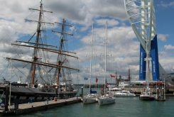 Stavros S Niarchos, Tall Ships Youth Trust ship and Emirates Spinnaker Tower, Gunwharf Quays, Portsmouth