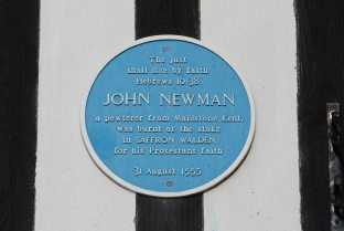 Plaque, on Town Hall to John Newman, burnt at the stake 1555, Market Place, Saffron Walden