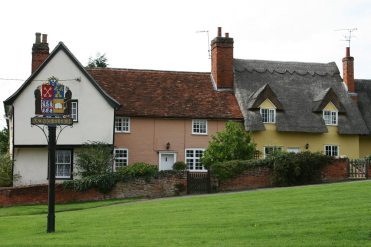 Cottages and village sign, Monks Eleigh