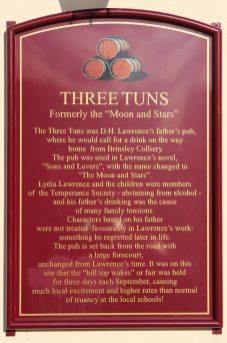 Information board on Three Tuns pub, Eastwood