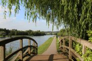 Wooden bridge, Thames Path, Remenham
