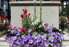 Flower display, War Memorial, Bray