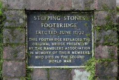 Plaque, Stepping Stones Footbridge, Burford Meadow, below Box Hill