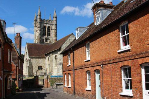 St. Andrew's Church, from Lower Church Lane, Farnham