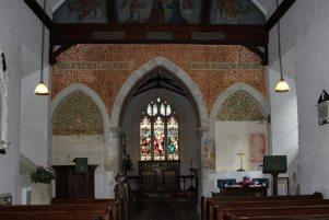 Victorian wall decorations, St. Nicholas Church, Steventon