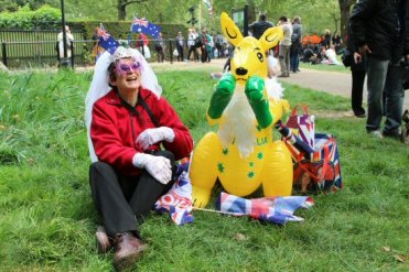 Australian visitor, beside The Mall. Royal Wedding, Prince William and Kate, 29th April 2011