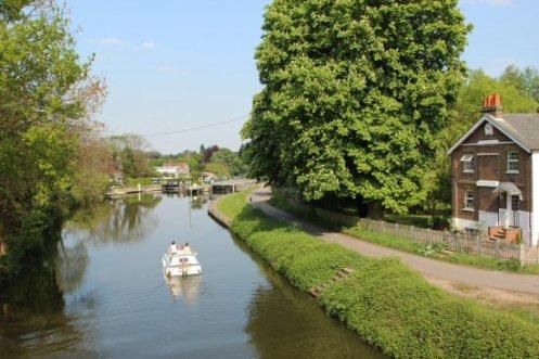 Boat approaching Sunbury Lock, River Thames, Walton-on-Thames