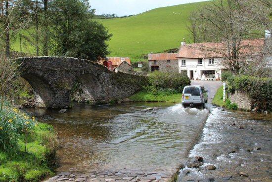 Car crossing ford, Badgworthy Water, Malmsmead, Exmoor