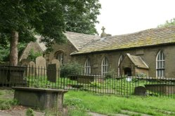 Church Sunday School, where Charlotte Brontë taught, from St. Michael and All Angels Churchyard, Haworth