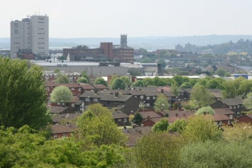 City Centre, from Central Forest Park, Hanley, Stoke-on-Trent