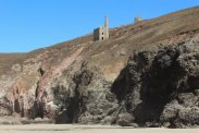 Cliffs below Wheal Coates Mine, Chapel Porth beach, St. Agnes