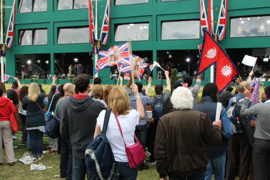 Crowds watching Media Centre. Royal Wedding, Prince William and Kate, 29th April 2011