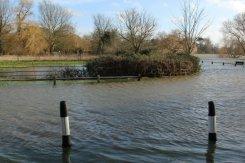 Flooded Ferry Lane and Thames Side, Laleham. Floods February 2014