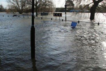 Flooded River Thames and Thames Side, Laleham. Floods February 2014
