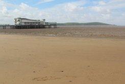 Grand Pier and Brean Down, from beach, Weston-super-Mare