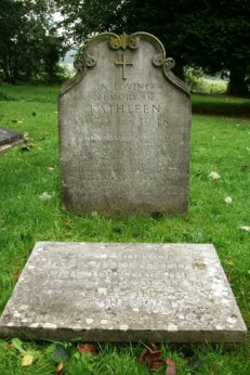 Grave of Kathleen Cavendish, sister of President J.F. Kennedy and Memorial stone, St. Peter's Churchyard, Edensor