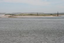 Navigation beacons, on Guile Point, Ross Sands, Holy Island, Lindisfarne