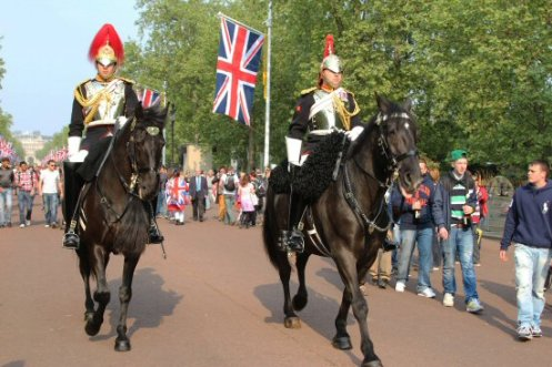 Household Cavalry, The Mall. Royal Wedding, Prince William and Kate, 29th April 2011