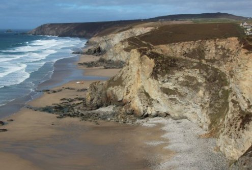 Lushington Cove and cliffs to St. Agnes Head, from cliff path, Porthtowan