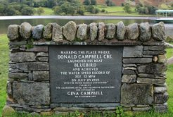 Memorial to Donald Campbell, Glenridding, Ullswater