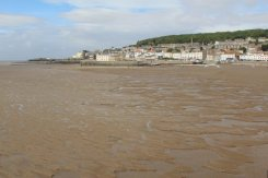 Mud flats and Knightstone Island, from Grand Pier, Weston-super-Mare