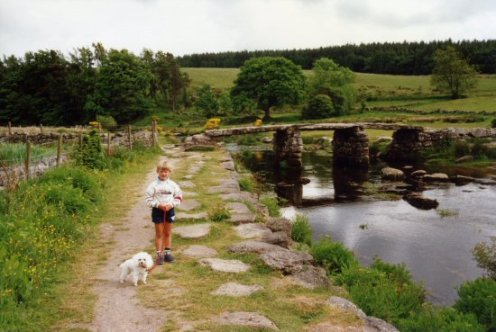 My son and my dog, Snoopy, Clapper Bridge, Postbridge, Dartmoor