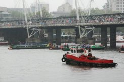 Narrow boats under Hungerford Bridge, Queen's Diamond Jubilee, Thames Pageant