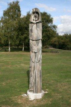 Oak carving, 'Ancestor', by Helena Stylianides, Waltham Abbey Gardens, Waltham Abbey