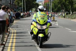 Police motorcyclist. London – Surrey Cycle Classic Race, 14th August 2011