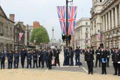 Police stopping crowd entering Trafalgar Square. Royal Wedding, 29th April 2011
