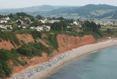Red mudstone cliffs, west beach, Seaton