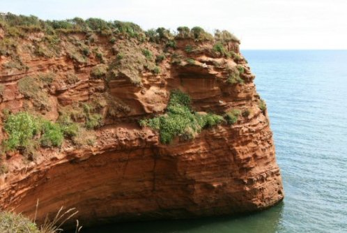 Red sandstone cliff, Ladram Bay, near Sidmouth