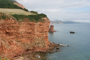 Red sandstone cliffs, Big Picket Rock and Little Picket Rock, near Ladram Bay