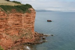 Red sandstone cliffs, Sandy Bay and Little Picket Rock, near Ladram Bay