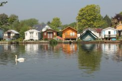 Riverside homes, Wheatley's Ait, from Walton-on-Thames