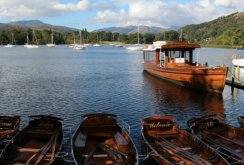 Rowing boats and Queen of the Lake, Waterhead, Lake Windermere