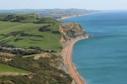 Seatown, East Ebb and West Bay, from Golden Cap