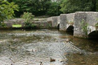 Sheepwash Bridge and sheep enclosure, River Wye, Ashford in the Water