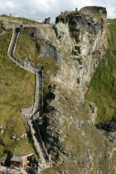 Steps to the bridge, connecting to The Island, Tintagel Castle, Tintagel