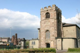 St. John's Church and bottle kilns, Burslem, Stoke-on-Trent