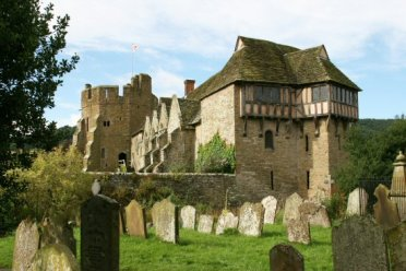 South Tower and North Tower, Stokesay Castle, from St. John the Baptist Churchyard, Stokesay