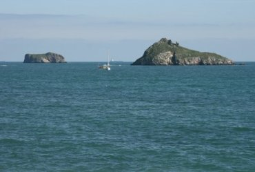 Thatcher Rock and Ore Stone, from Meadfoot Beach, Tor Bay, Torquay