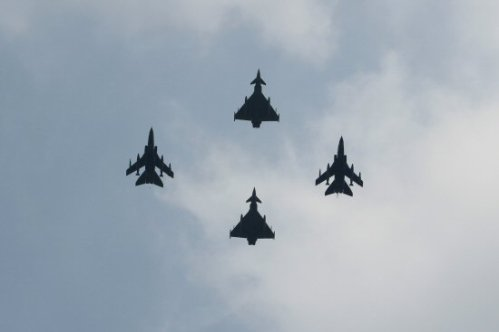 The Flypast, Typhoons and Tornado GR4s, above The Mall. Royal Wedding, 29th April 2011