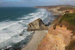 Tobban Horse and cliffs to St. Agnes Head, from cliff path, Porthtowan