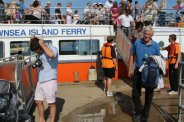 Visitors disembarking Brownsea Island Ferry, Brownsea Island