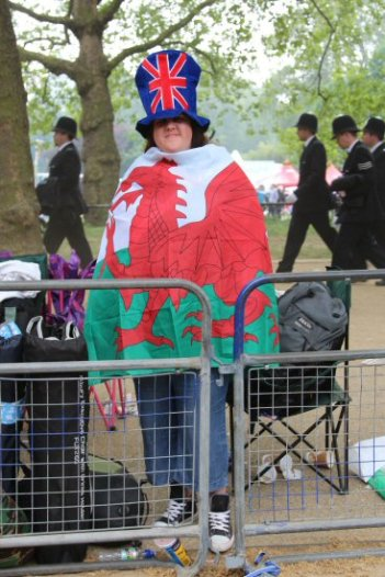 Welsh visitor, The Mall. Royal Wedding, Prince William and Kate, 29th April 2011