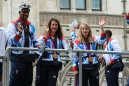 Conrad Williams, Olivia Breen and Jenny McLoughlin, Athletics. Olympic and Paralympic Victory Parade 2012