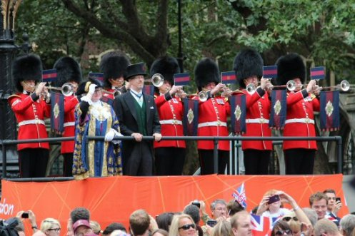 Guardsmen trumpeters, Strand. Olympic and Paralympic Victory Parade 2012