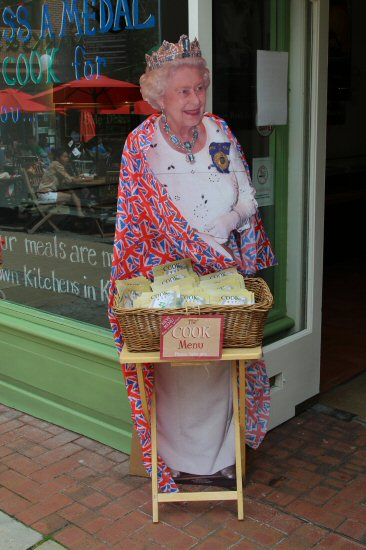 H.M. Queen, outside Cook, Dorking. Women's Olympic Road Cycling Road Race, 2012