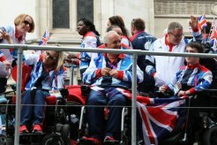 Jess Hunter, Nigel Murray and Jacob Thomas, Boccia. Olympic and Paralympic Victory Parade 2012